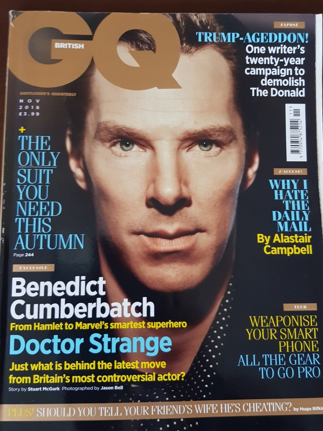BRITISH GQ MENS MAGAZINE BENEDICT CUMBERBATCH NOVEMBER 2016