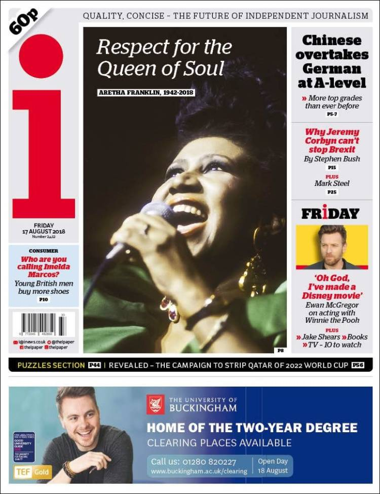 New UK Aretha Franklin Tribute The i Newspaper Cover (17th August 2018)