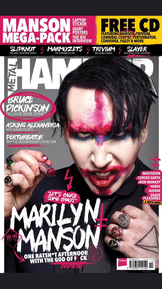 Metal Hammer Magazine November 2017 Marilyn Manson UK Cover Exclusive