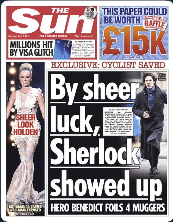 The Sun Newspaper June 2nd 2018 Benedict Cumberbatch Cover Exclusive