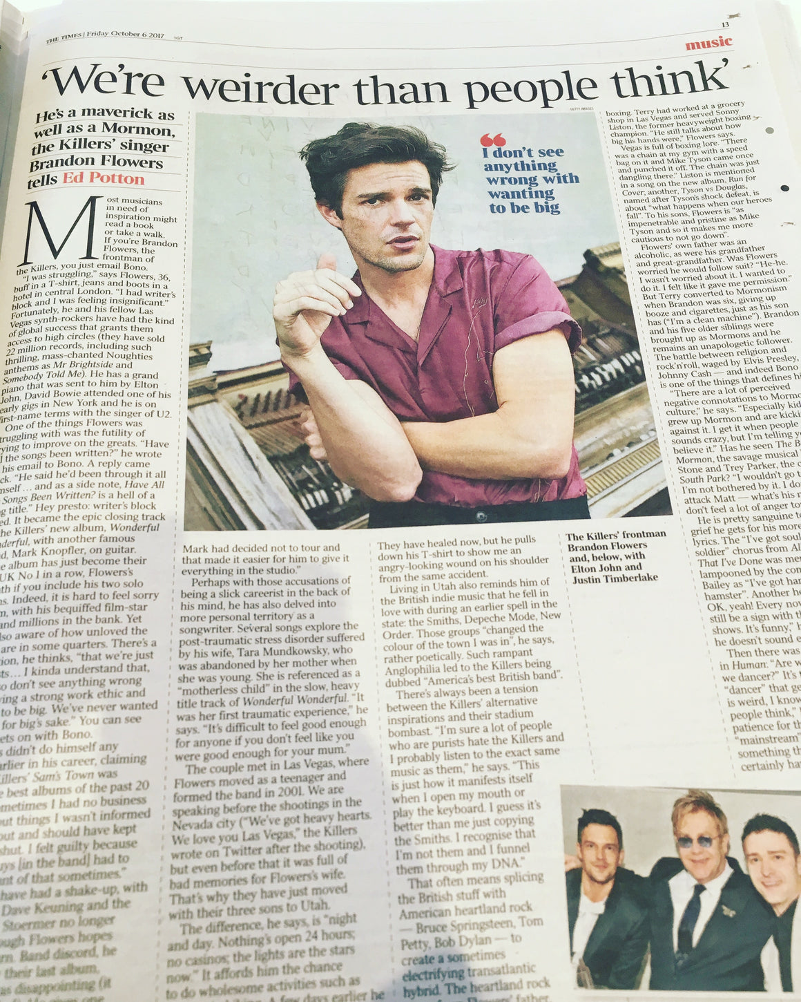 Brandon Flowers talks to the Times