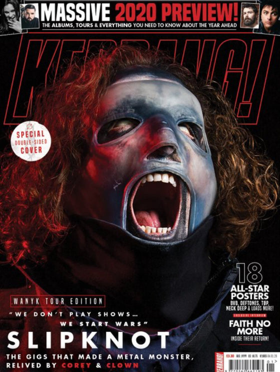 UK Kerrang! Magazine January 2020 Slipknot 2 Sided Cover