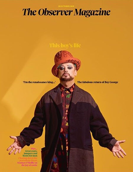 U.K. Observer Magazine October 2018: BOY GEORGE Cover interview