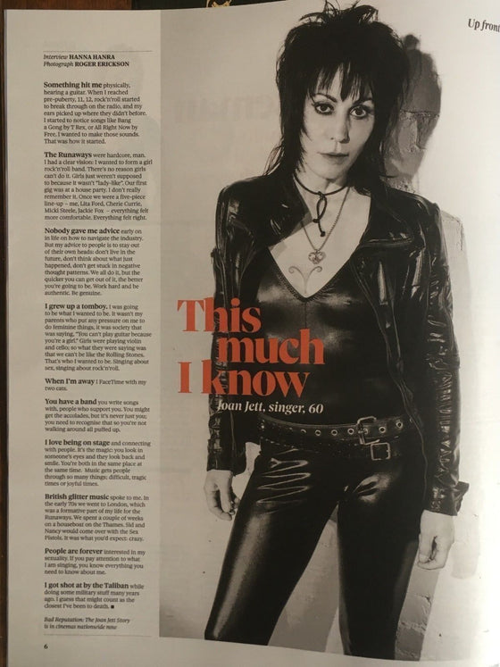 UK Observer Magazine NOV 2018: JOAN JETT The Runaways CHRIS O'DOWD
