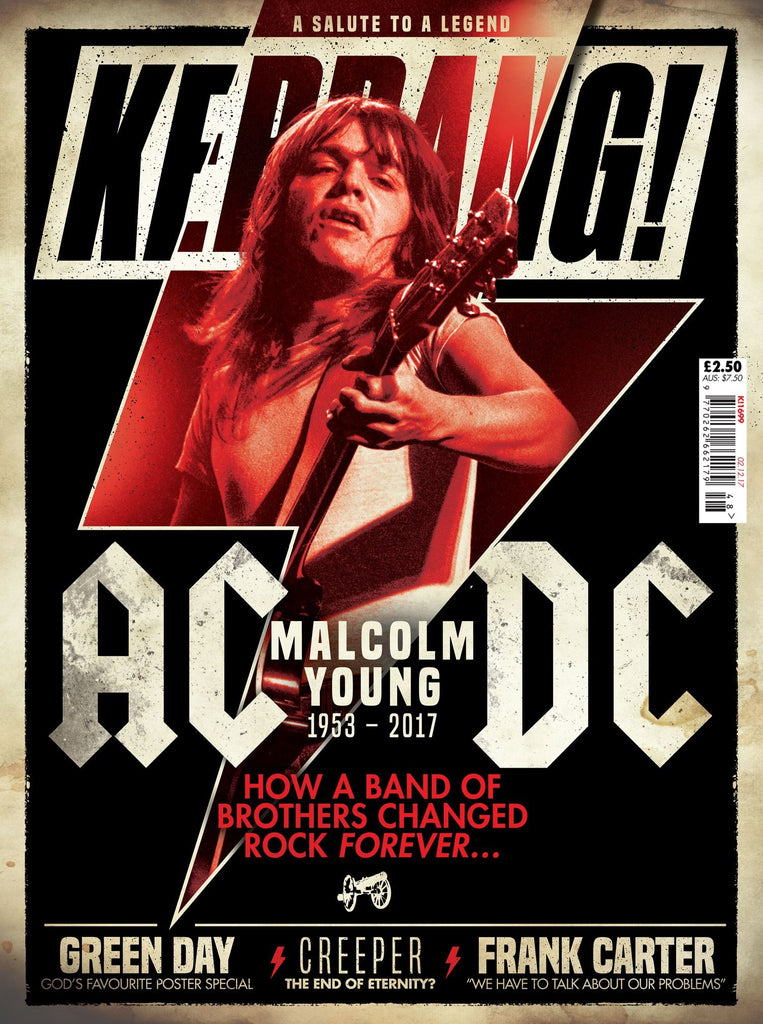 Malcolm Young on the cover of Kerrang! Magazine