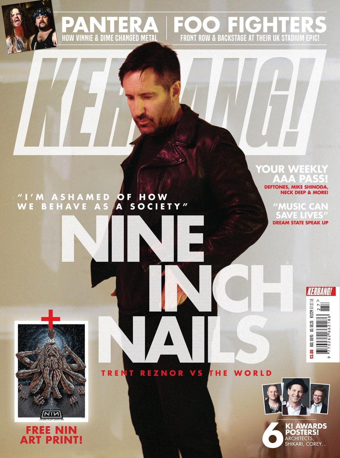 Kerrang! Magazine July 4 2018 Trent Reznor Nine Inch Nail & Free NIN Art Print Foo Fighters