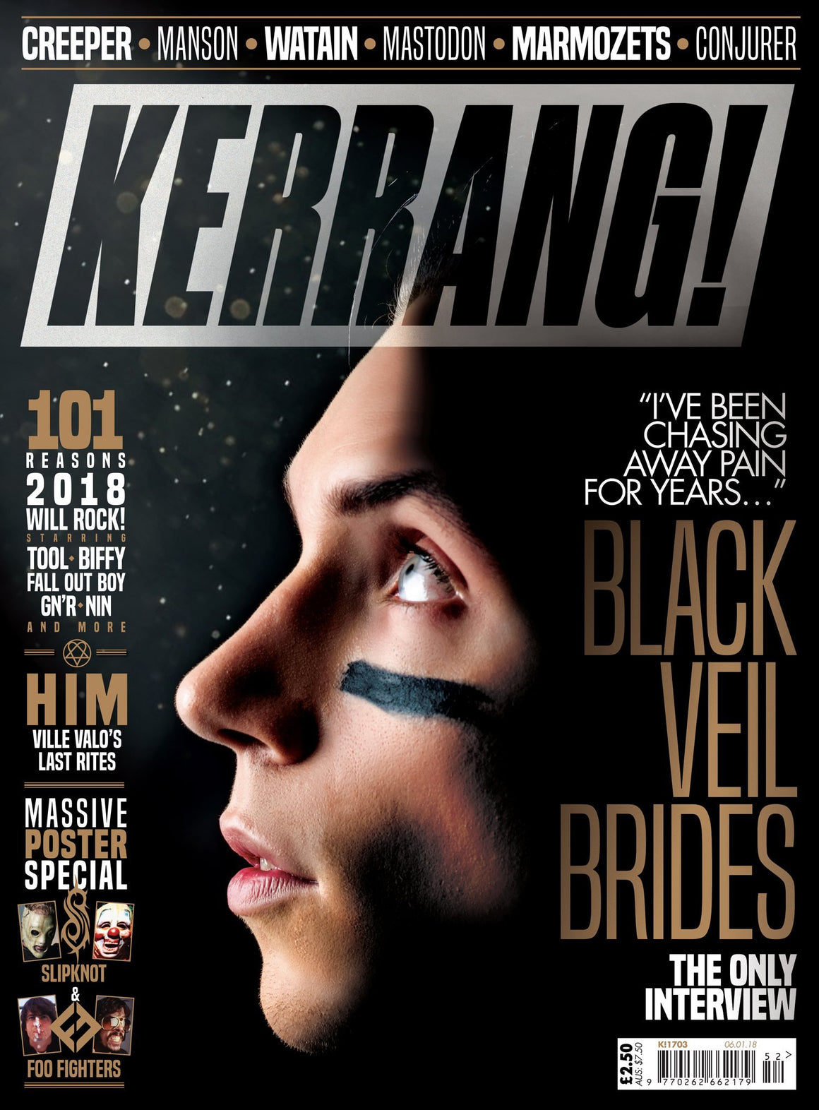Kerrang! Magazine 6th January 2018 Black Veil Brides Ville Valo Him