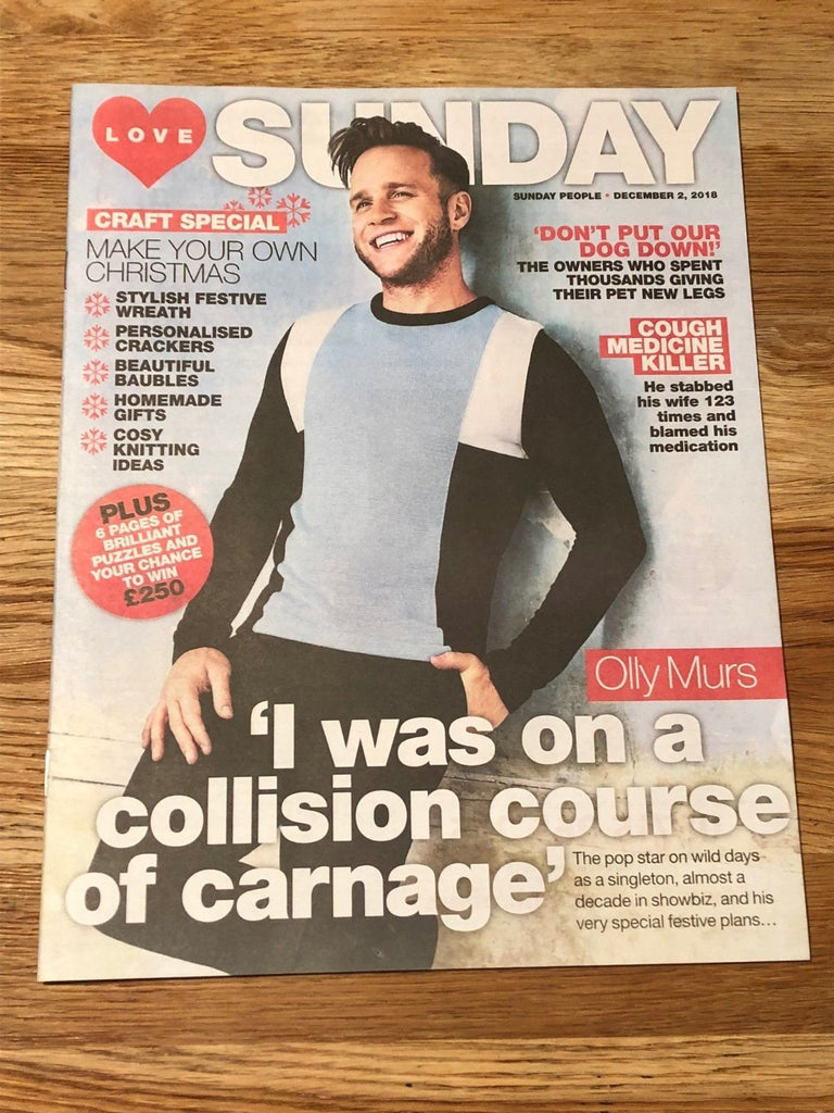 LOVE Sunday Magazine December 2018: OLLY MURS UK Cover Interview