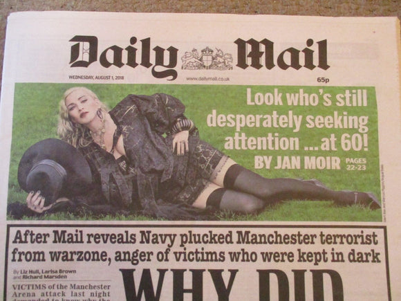 Madonna Daily Mail UK Newspaper Cover - August 1, 2018