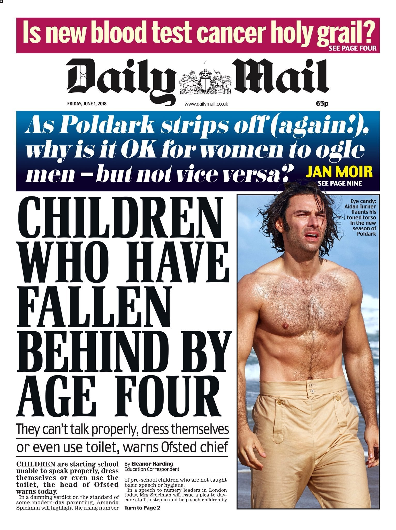 Daily Mail Newspaper 1st June 2018 Aidan Turner Poldark Cover Story Yourcelebritymagazines