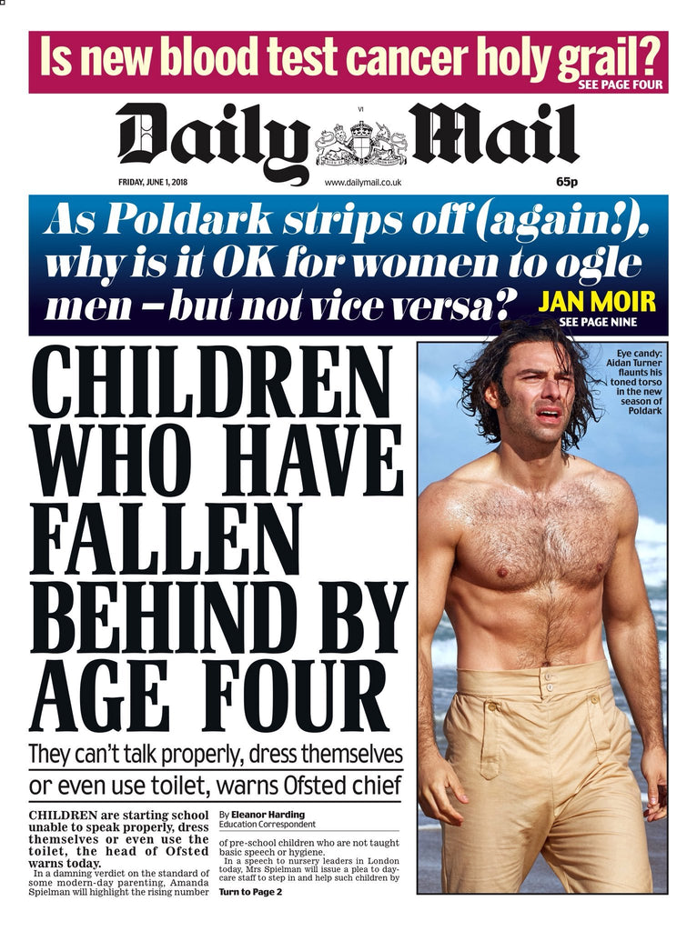 Daily Mail Newspaper 1st June 2018 Aidan Turner Poldark Cover Story