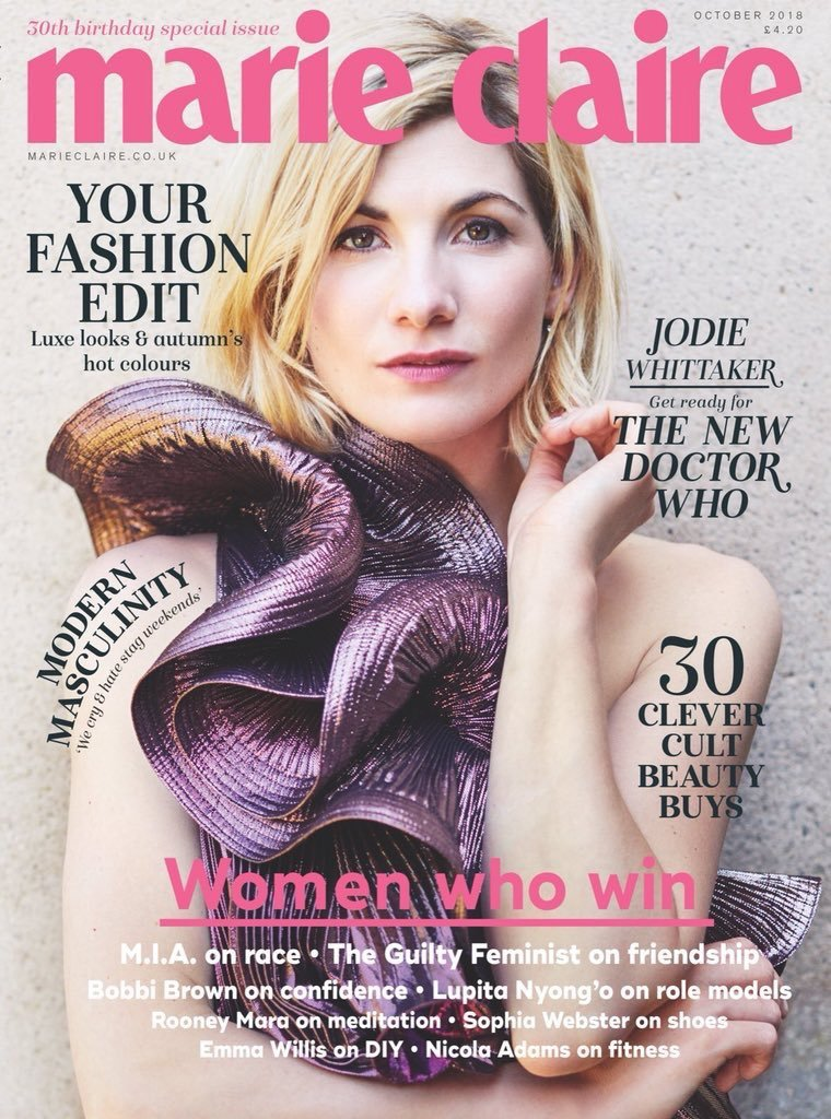 UK Marie Claire Magazine OCT 2018: Doctor Who JODIE WHITTAKER COVER STORY