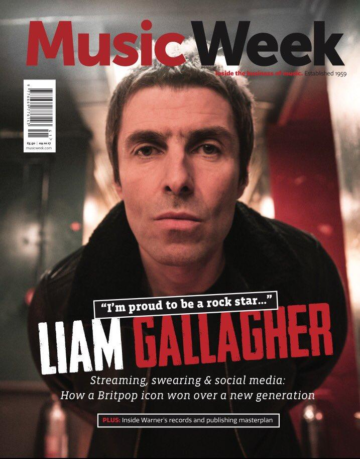 Liam Gallagher on the cover of Music Week Magazine