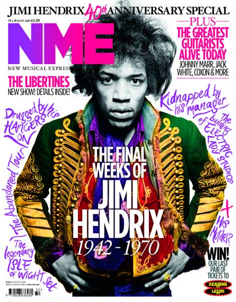 NME magazine - Jimi Hendrix cover (14 August 2010)
