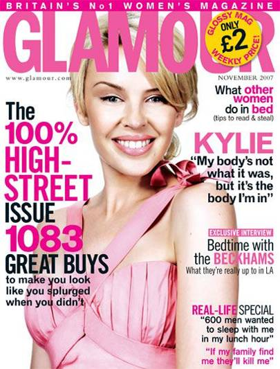 UK Glamour Magazine 11/07 Kylie Minogue Cover