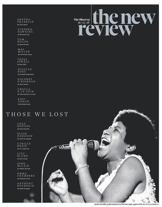 UK Observer Review December 2018: ARETHA FRANKLIN Dolores O'Riordan BOY GEORGE