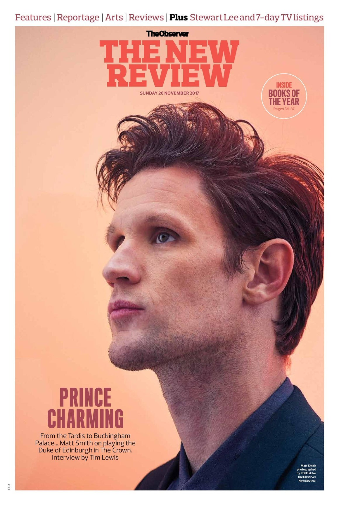 UK Observer New Review NOVEMBER 2017: Doctor Who Matt Smith Cover Interview
