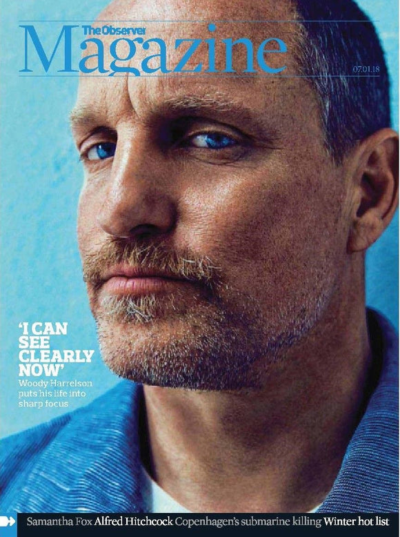 UK Observer Magazine JANUARY 2018: WOODY HARRELSON Samantha Fox ALFRED HITCHCOCK