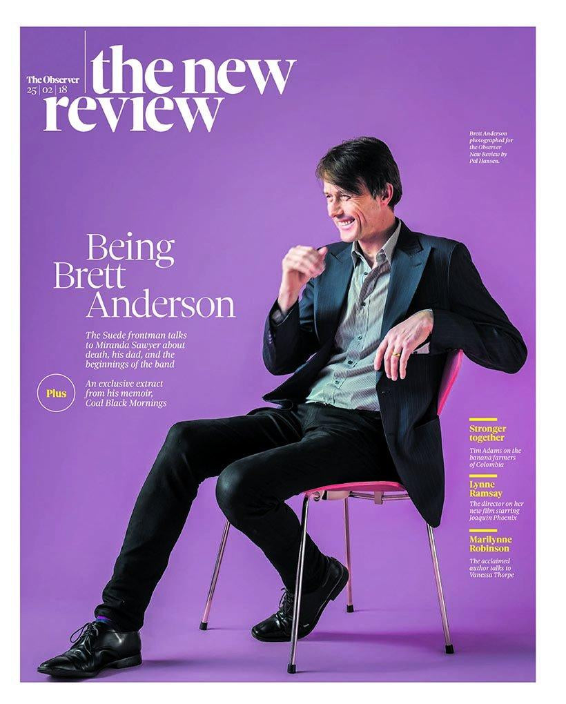UK OBSERVER REVIEW FEBRUARY 2018: BRETT ANDERSON COVER & INTERVIEW