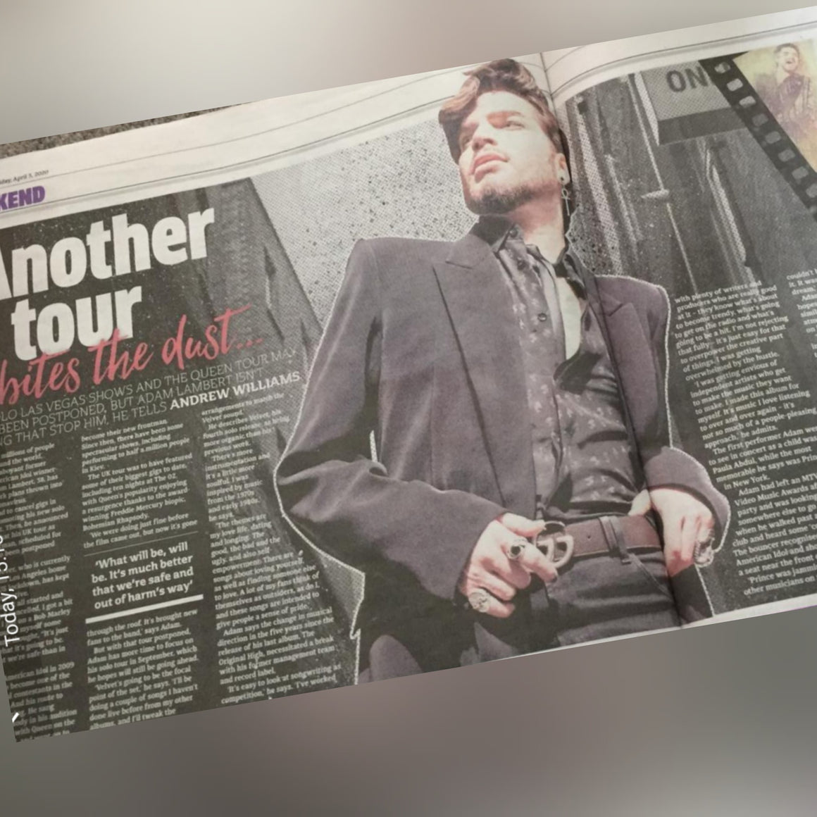 UK Metro 3rd April 2020: Adam Lambert Interview