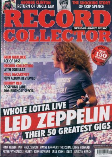 UK Record Collector Magazine Sept 2018: LED ZEPPELIN Robert Plant PAUL McCARTNEY