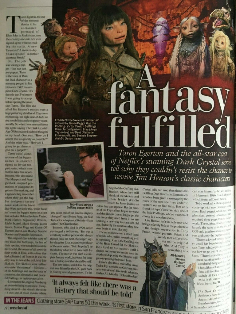 Weekend Magazine August 2019: THE DARK CRYSTAL: Age of Resistance Taron Egerton