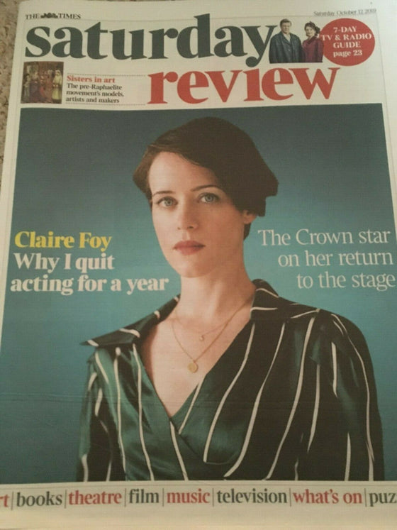 TIMES REVIEW October 2019: THE CROWN: CLAIRE FOY COVER INTERVIEW Sir Elton John