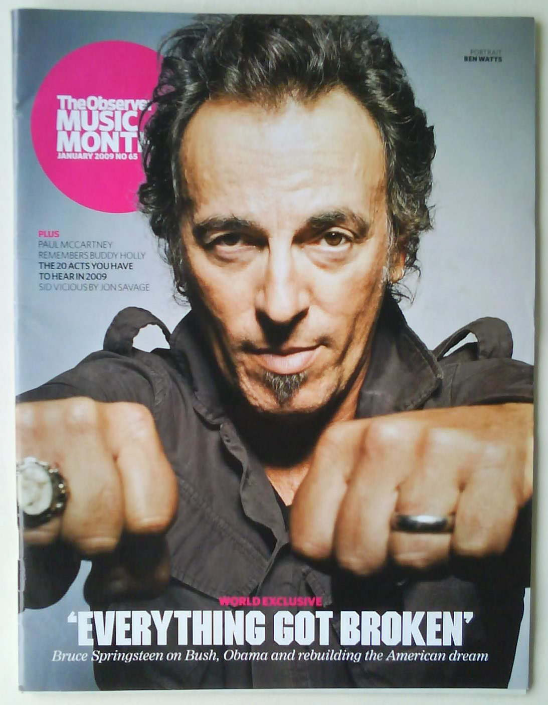 BRUCE SPRINGSTEEN RARE Observer Music Monthly Mag Jan 2009 SID VICIOUS PUNK