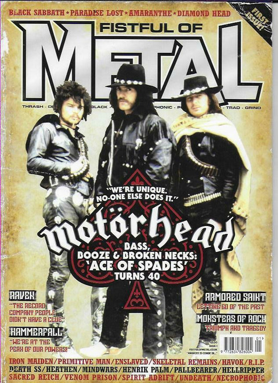 FISTFUL OF METAL MAGAZINE-ISSUE 1 Motorhead Ace of Spades Turns 40
