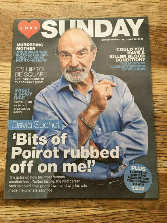 UK LOVE SUNDAY Magazine Oct 2019: DAVID SUCHET (Poirot) Cover + Interview