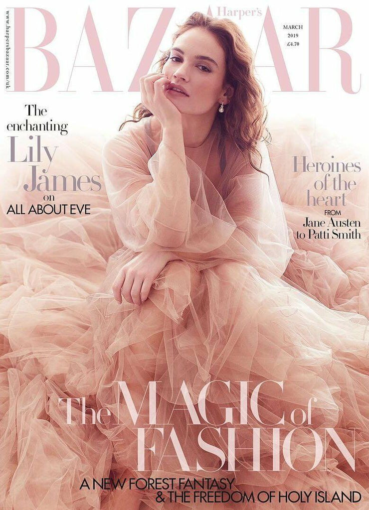 UK Harper's Bazaar Magazine March 2019: LILY JAMES COVER STORY