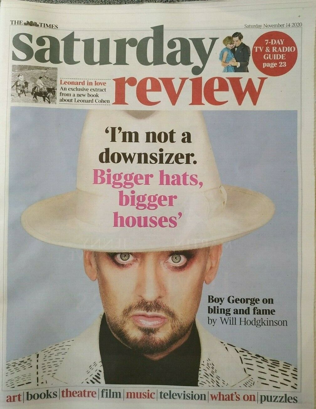UK Times Review NOV 2020: BOY GEORGE Culture Club Cover Feature