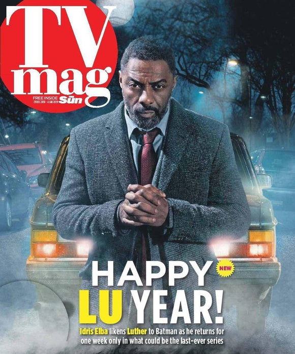 UK SUN TV Magazine 29 Dec 2018: IDRIS ELBA - Luther COVER STORY FEATURE