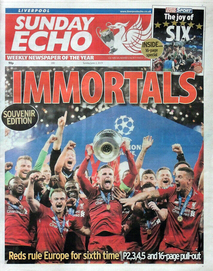 Liverpool v Spurs Echo Champions of Europe Newspaper - 2nd June 2019