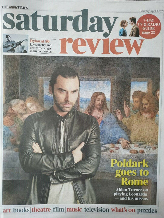 UK Times Review April 2021: AIDAN TURNER Poldark Bob Dylan