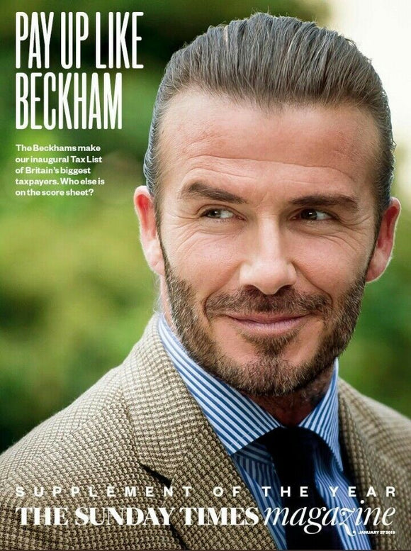 UK SUNDAY TIMES MAGAZINE JANUARY 27th 2019: DAVID BECKHAM PHOTO COVER STORY