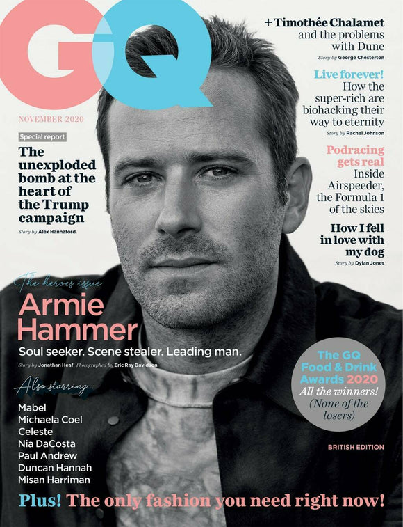 UK British GQ Mag November 2020: ARMIE HAMMER COVER & FEATURE Timothee Chalamet