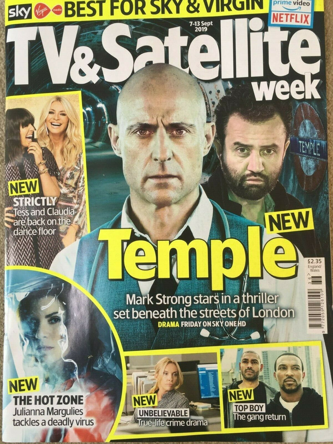 TV & Satellite Magazine 7 Sept 2019: Mark Strong Daniel Mays (Temple)