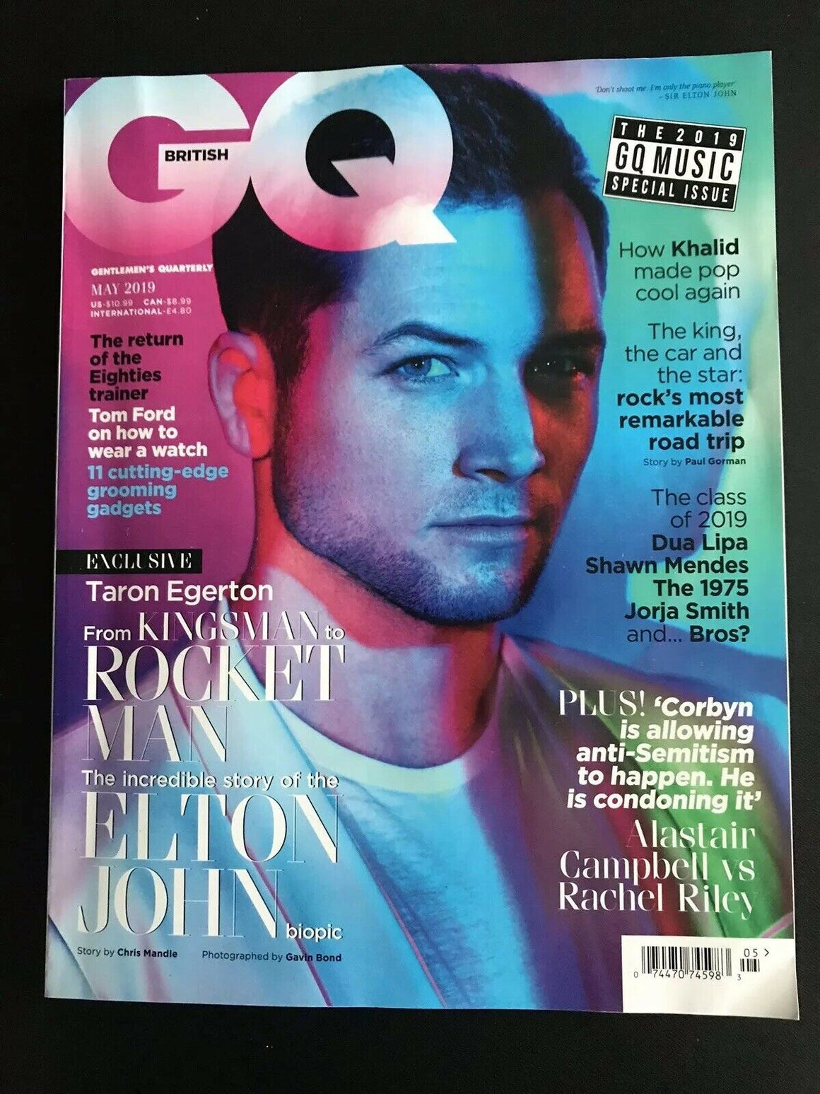 British GQ Magazine May 2019: Taron Egerton Cover Feature