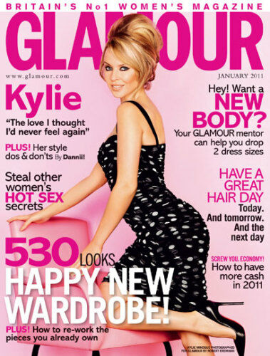 UK GLAMOUR Magazine, KYLIE MINOGUE, January 2011