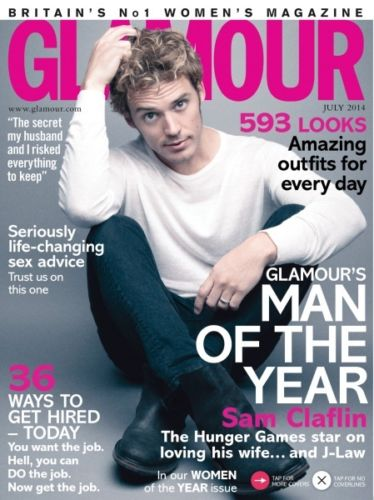 GLAMOUR Magazine July 2014 Sam Claflin The Hunger Games