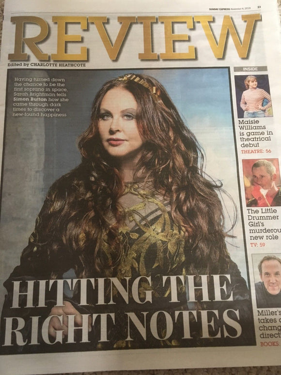 Sunday Express Review 4 November 2018 Sarah Brightman Cover Interview