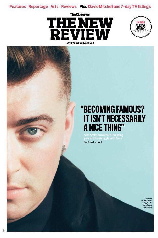 SAM SMITH PHOTO COVER INTERVIEW OBSERVER FEB 2015 SYLVIE GUILLEM DAVID DUCHOVNY