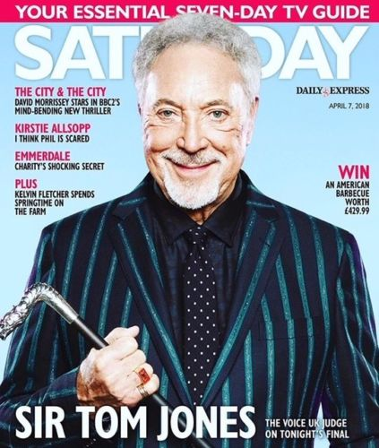 UK SATURDAY April 2018 TOM JONES Kelvin Fletcher DAVID MORRISSEY Emma Atkins