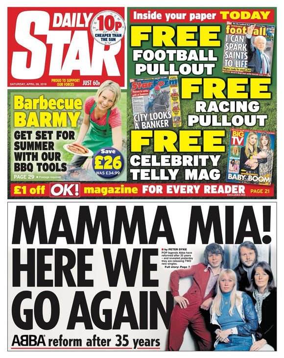 The Daily Star Newspaper 28th April 2018 Abba Reform Cover Story