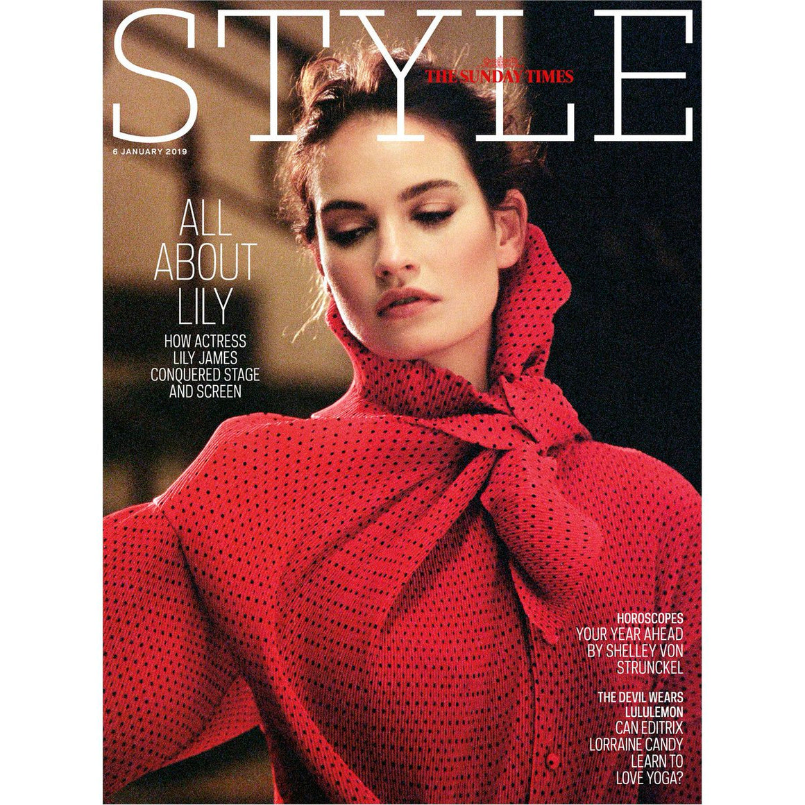 Sunday Times Style Magazine 6th January 2019 Lily James Cover
