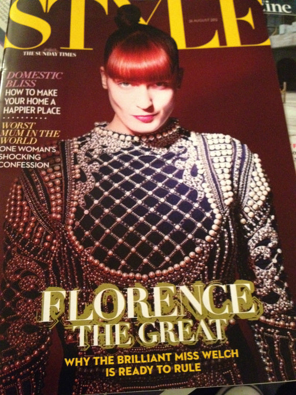 FLORENCE WELCH & THE MACHINE PHOTO INTERVIEW UK Style MAGAZINE August 2012