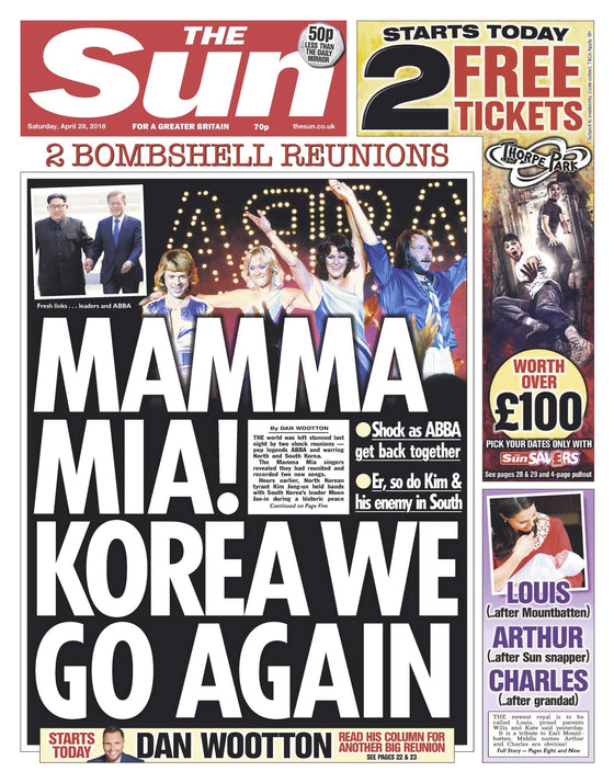 The SUN Newspaper 28th April 2018 Abba Reform Cover Story