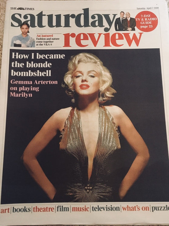 UK Times Review April 7th 2018 MARILYN MONROE COVER STORY ## GEMMA ARTERTON