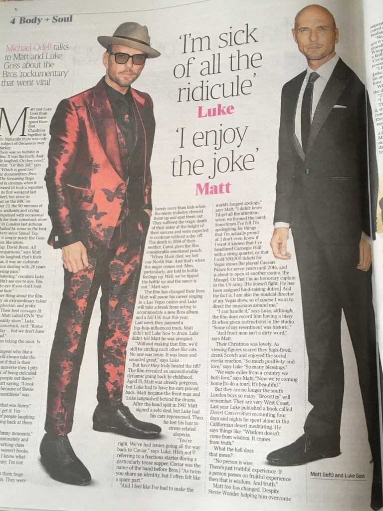 UK Times Weekend January 2019: Matt & Luke Goss (Bros) Interview